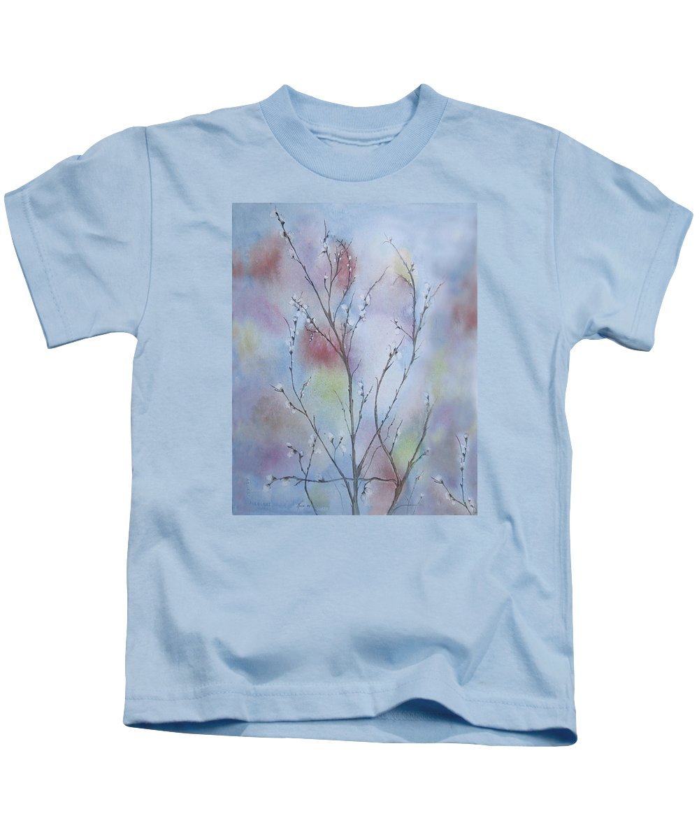 Pussy Willow Kids T-Shirt featuring the painting Pussywillows by Renee Catherine Wittmann