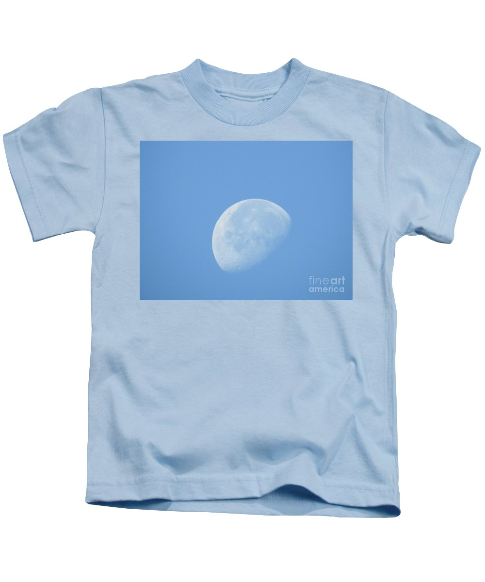 Quarter Moon Prints Kids T-Shirt featuring the photograph Quarter Moon by Ruth Housley