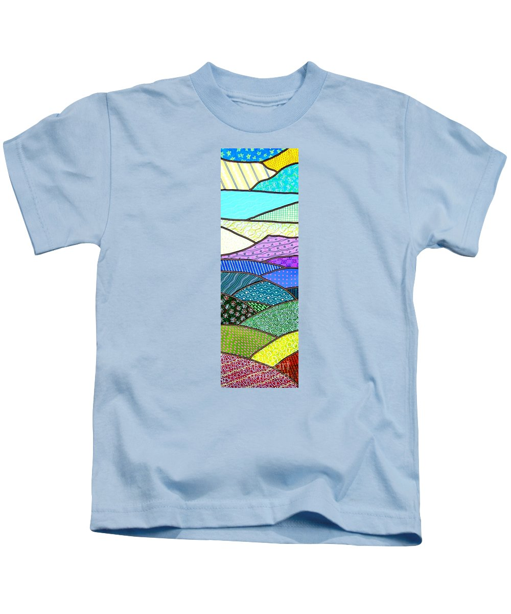 Mountain Kids T-Shirt featuring the painting Quilted Mountain by Jim Harris