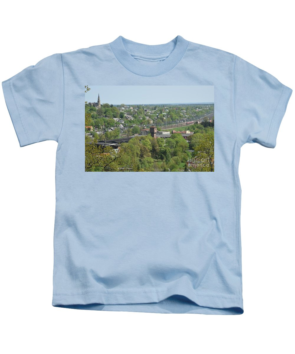 Engine Kids T-Shirt featuring the photograph Railroad by Oleg Konin