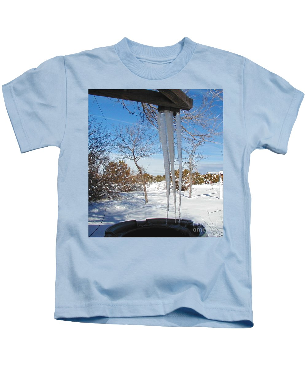 Icicle Kids T-Shirt featuring the photograph Rain Barrel Icicle by Diana Dearen