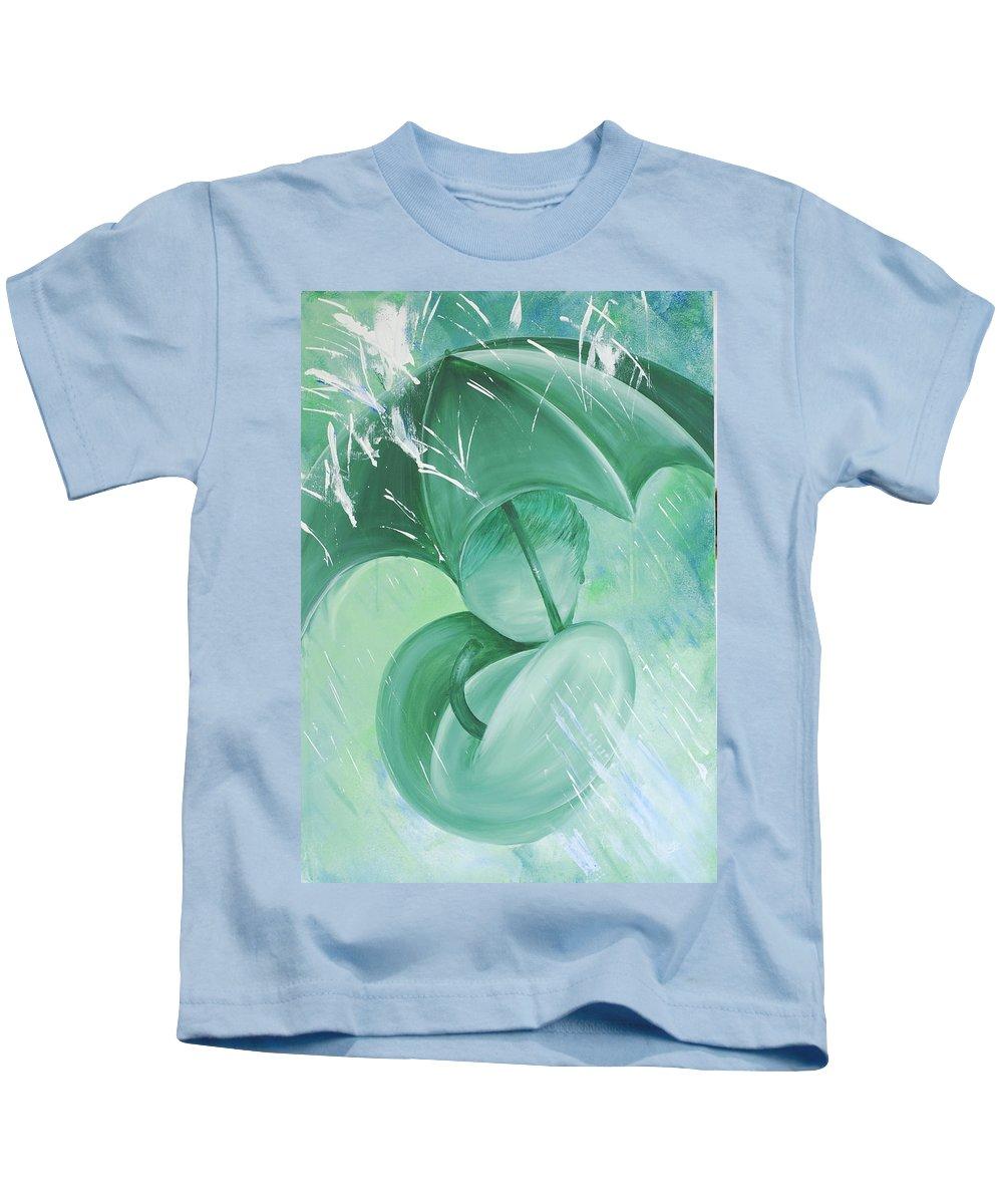 Rain Kids T-Shirt featuring the painting Rain by Catt Kyriacou