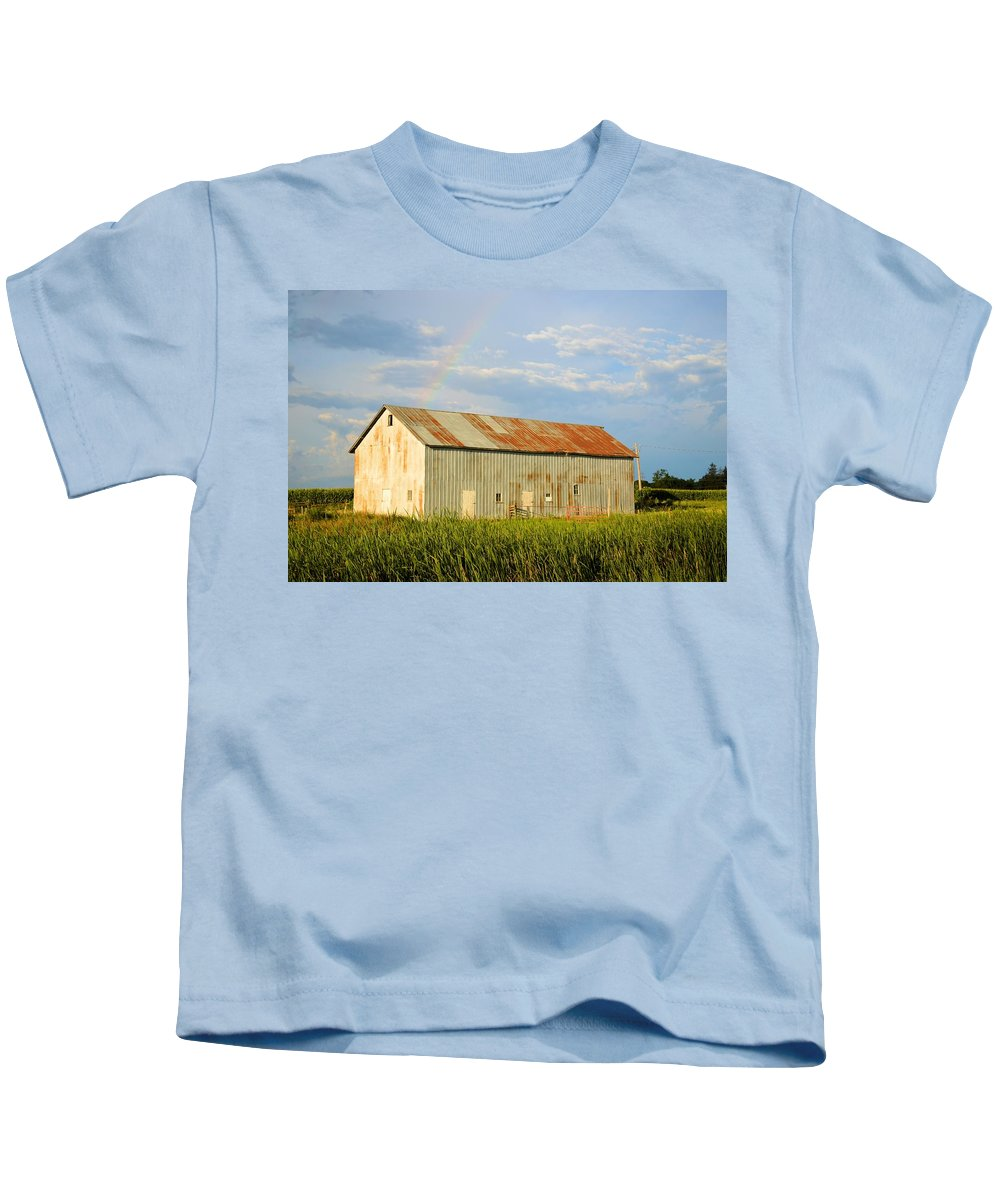 Barn Kids T-Shirt featuring the photograph Rainbow Barn by Bonfire Photography