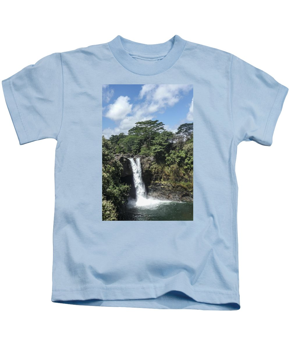 Rainbow Kids T-Shirt featuring the photograph Rainbow Falls Hawaii by NaturesPix