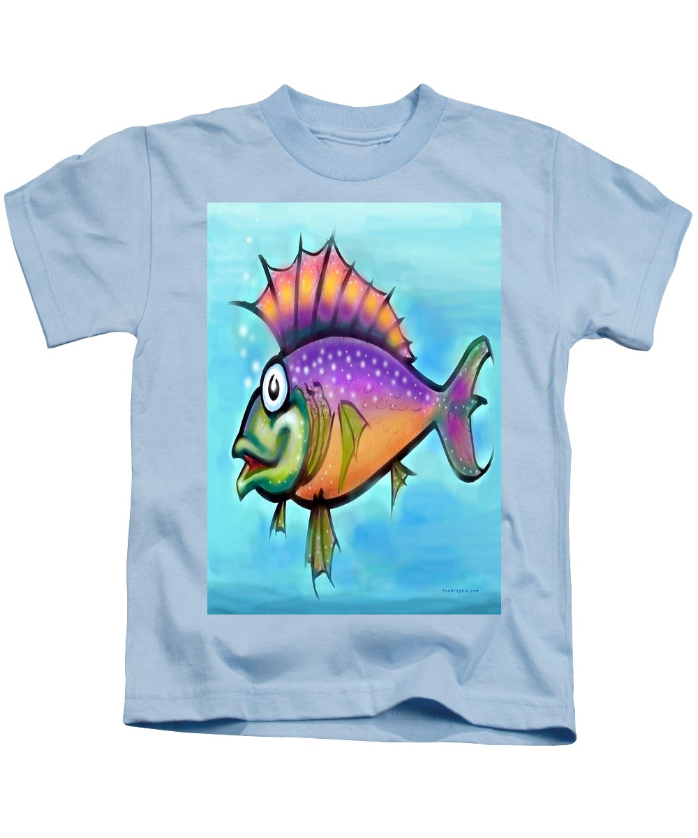 Fish Kids T-Shirt featuring the greeting card Rainbow Fish by Kevin Middleton