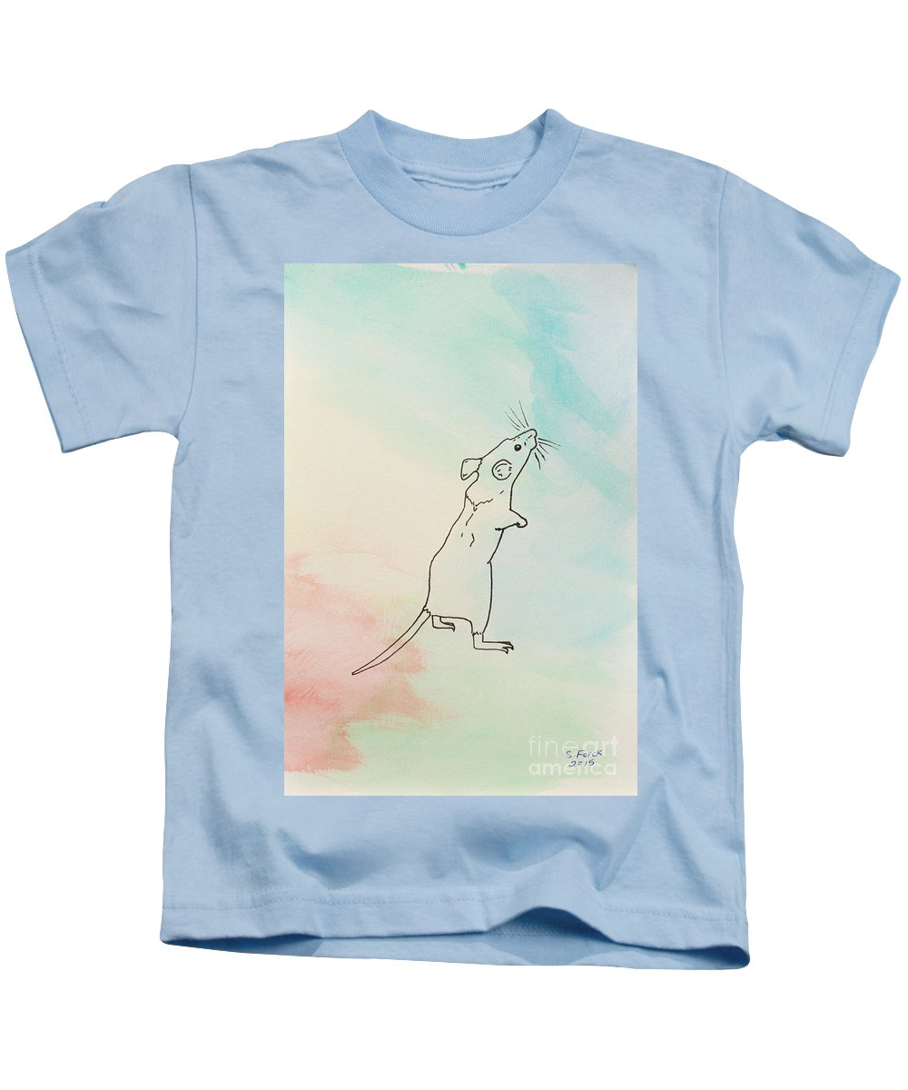 Mouse Kids T-Shirt featuring the painting Rainbow Mouse by Stefanie Forck
