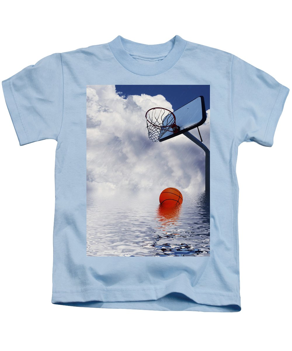 Basketball Kids T-Shirt featuring the digital art Rained Out Game by Gravityx9  Designs