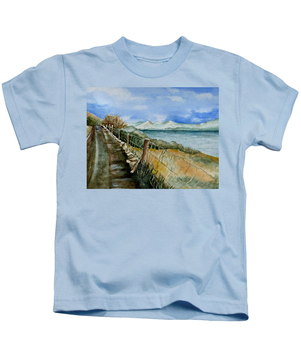 Watercolor Kids T-Shirt featuring the painting Rambling Walk by Brenda Owen