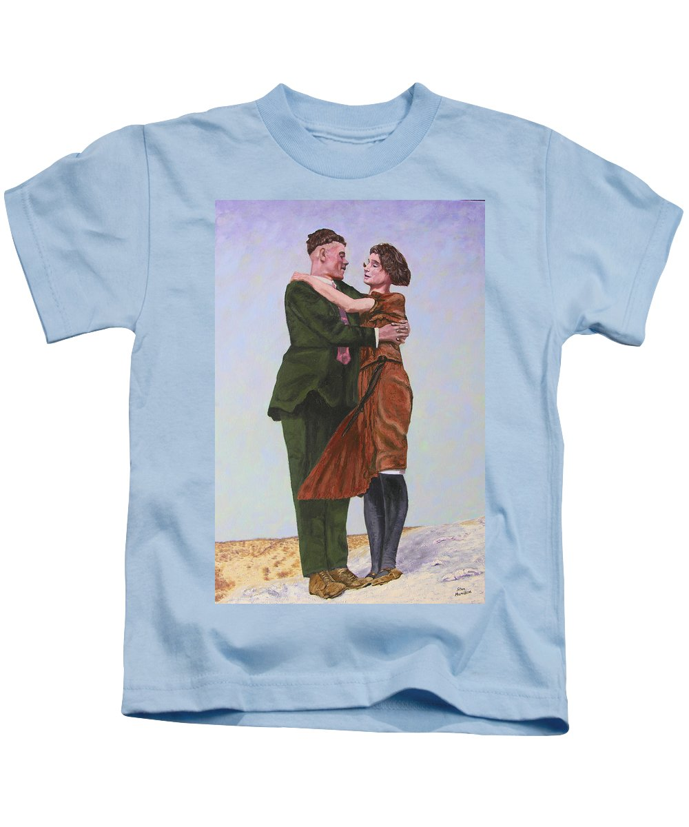 Double Portrait Kids T-Shirt featuring the painting Ray And Isabel by Stan Hamilton