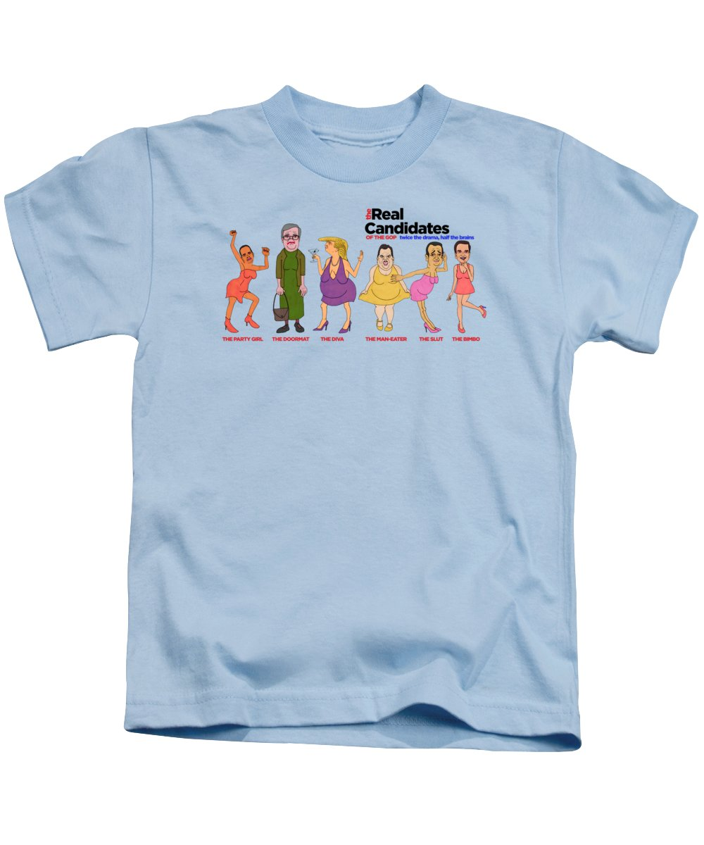 Drumpf Kids T-Shirt featuring the painting Real Candidates Of The Gop -clear Background Version 2 by Sean Corcoran