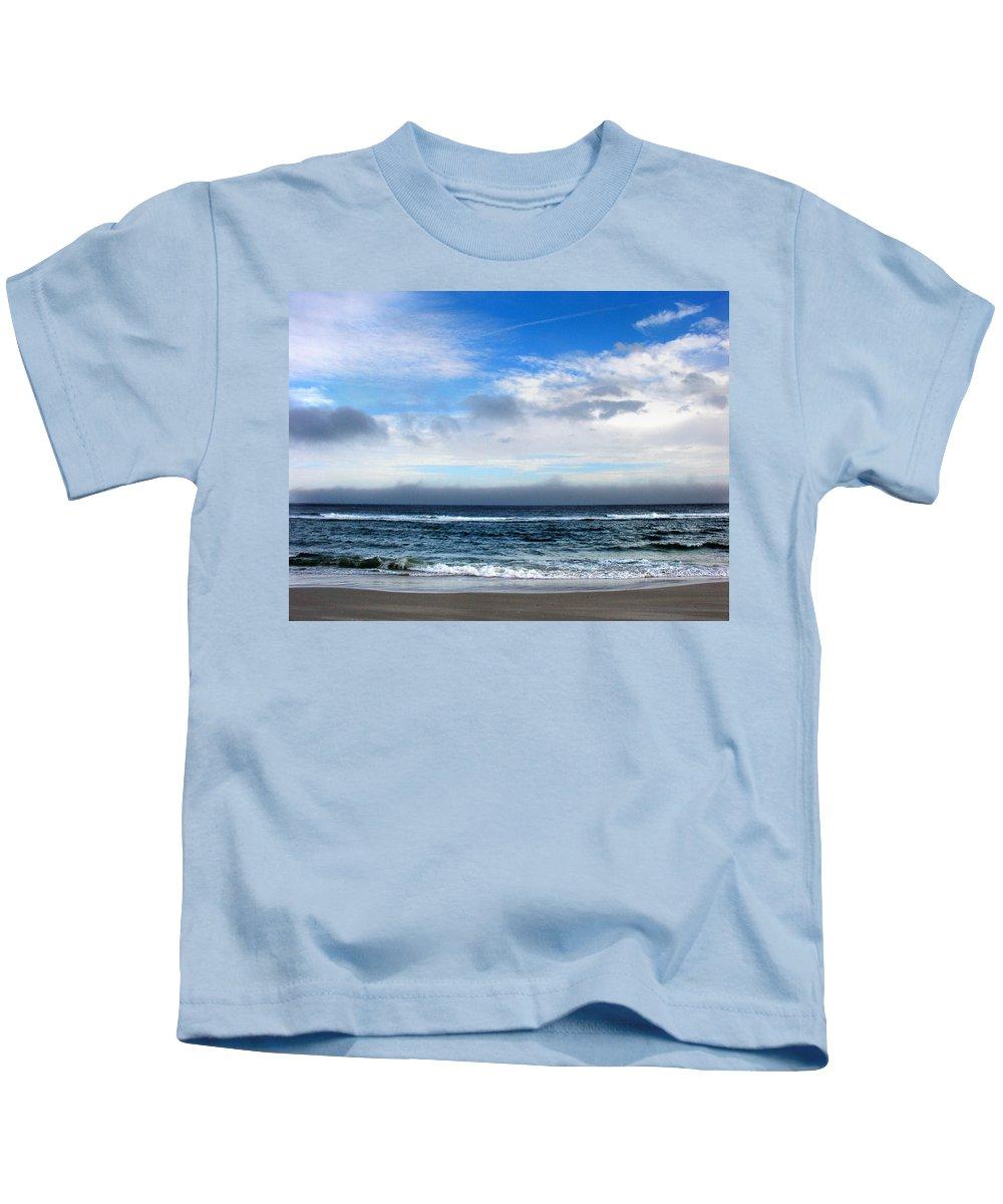 Seascape Kids T-Shirt featuring the photograph Receding Fog Seascape by Steve Karol