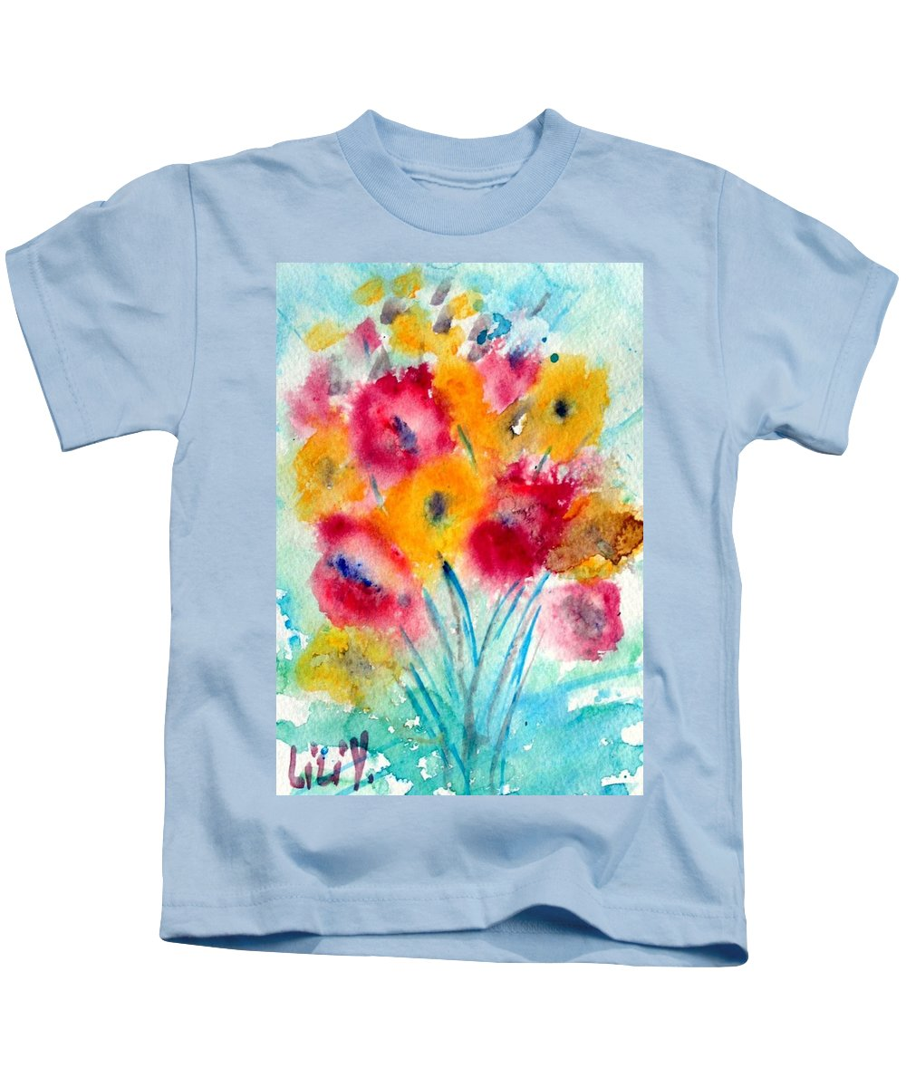 Flowers Kids T-Shirt featuring the painting Red And Yellow Flowers by Luiza Vizoli