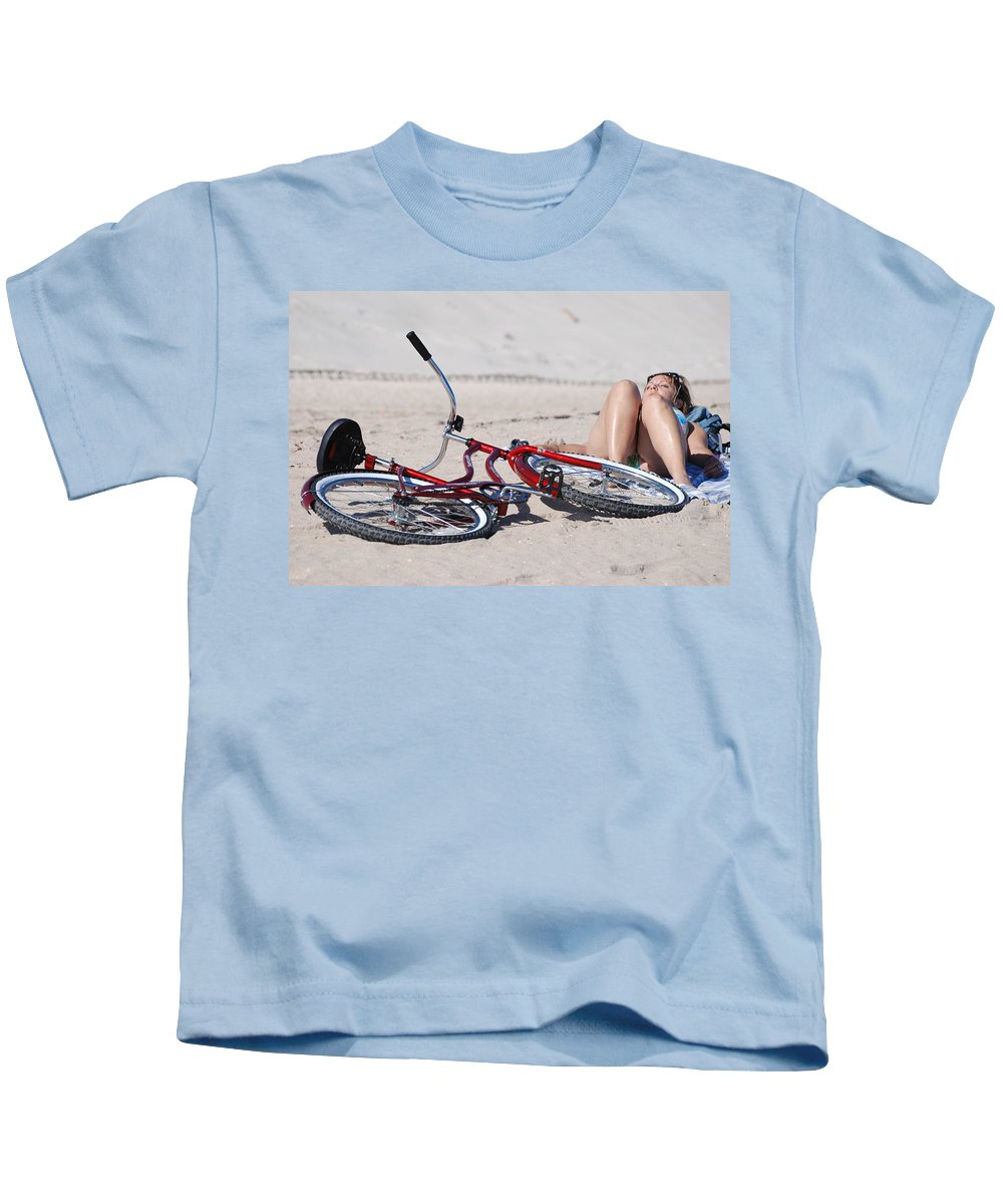 Red Kids T-Shirt featuring the photograph Red Bike On The Beach by Rob Hans