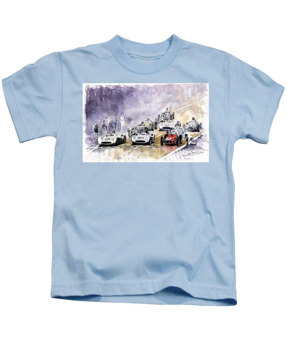 Watercolour Kids T-Shirt featuring the painting 1954 Red Car Maserati 250 France Gp by Yuriy Shevchuk