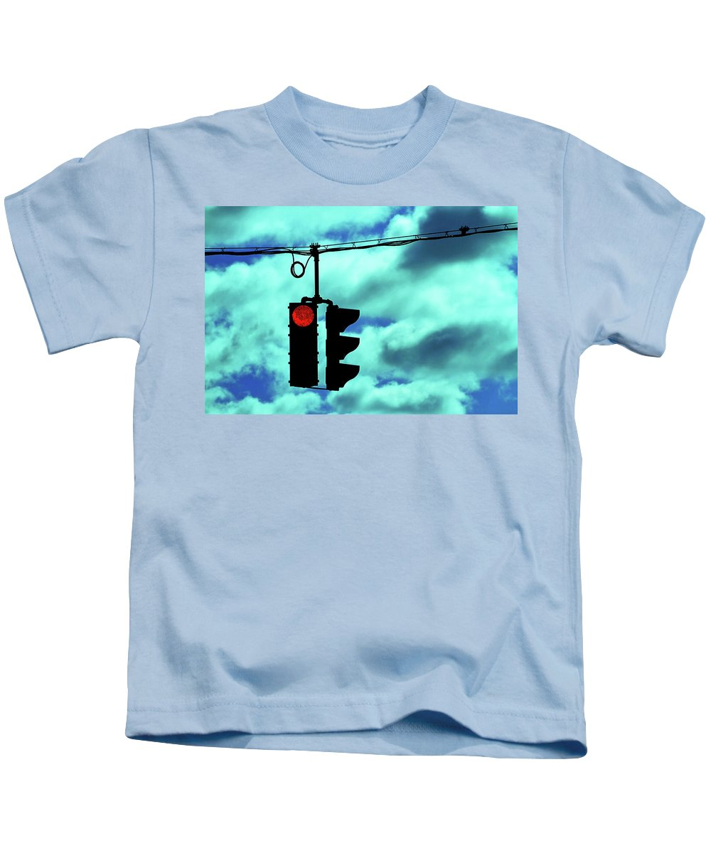 Street Light Kids T-Shirt featuring the photograph Red Light by Karol Livote