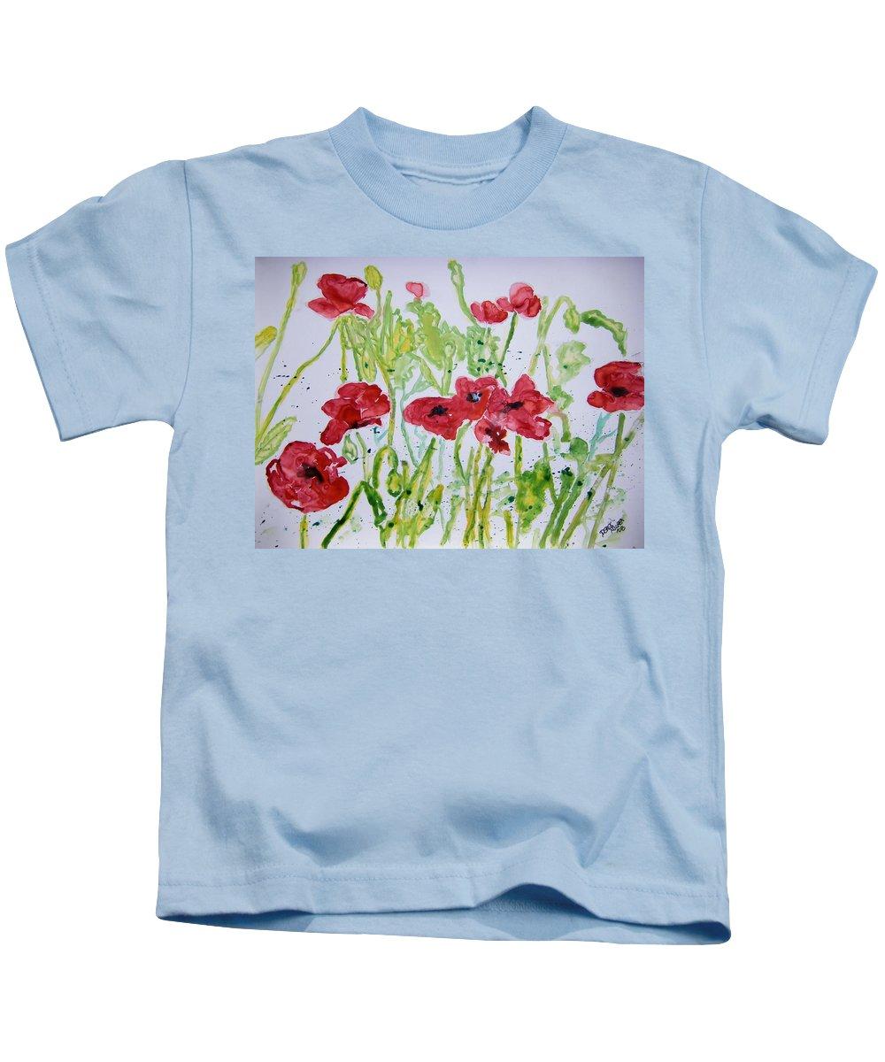 Poppy Kids T-Shirt featuring the painting Red Poppy Flowers by Derek Mccrea