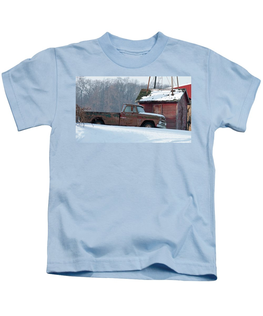 Truck Kids T-Shirt featuring the photograph Red Truck In The Snow by David Arment