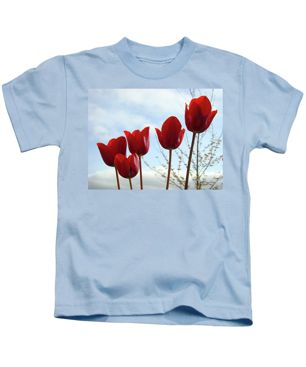 Tulip Kids T-Shirt featuring the photograph Red Tulip Flowers Spring Artwork Baslee Troutman by Baslee Troutman