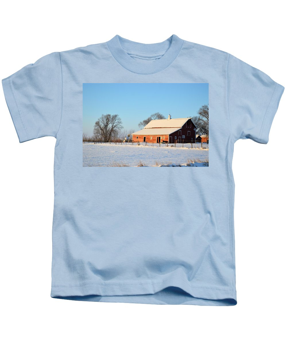 Barn Kids T-Shirt featuring the photograph Red Winter Barn by Bonfire Photography