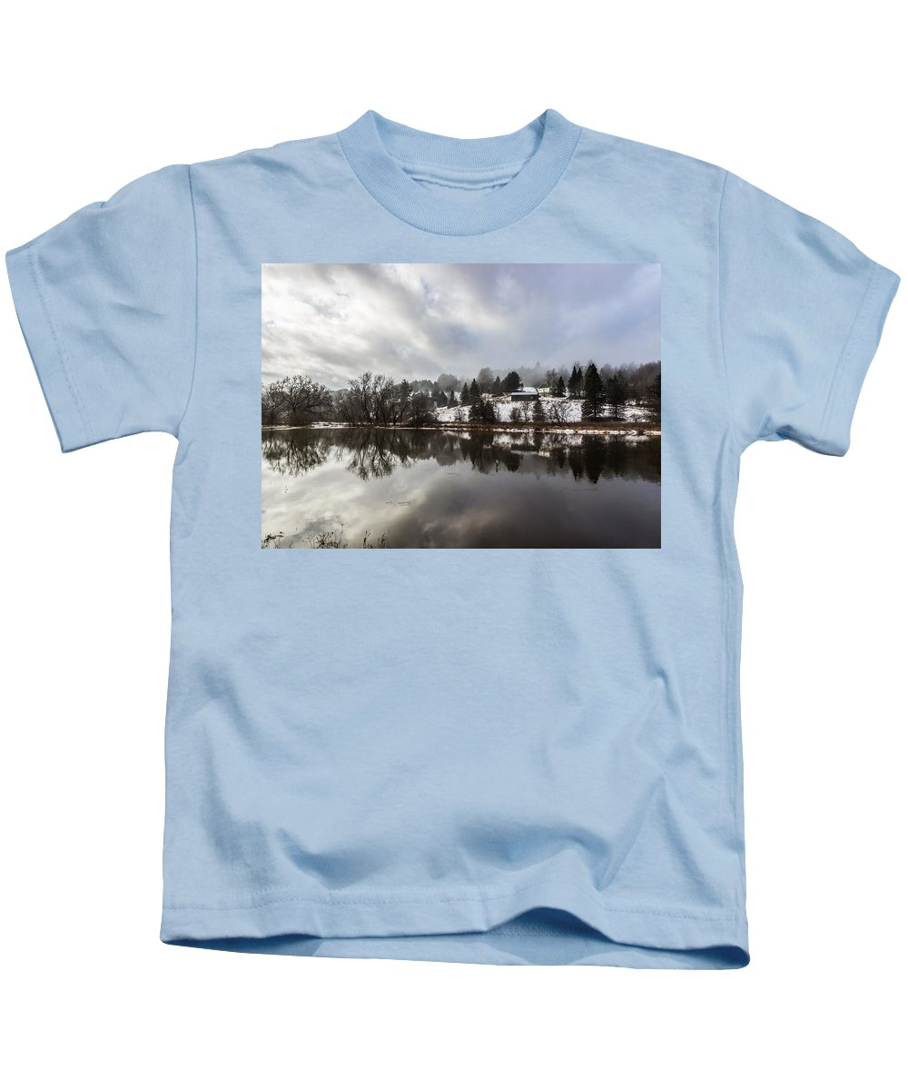 Flood Kids T-Shirt featuring the photograph Reflections Of Winter Flood by Tim Kirchoff