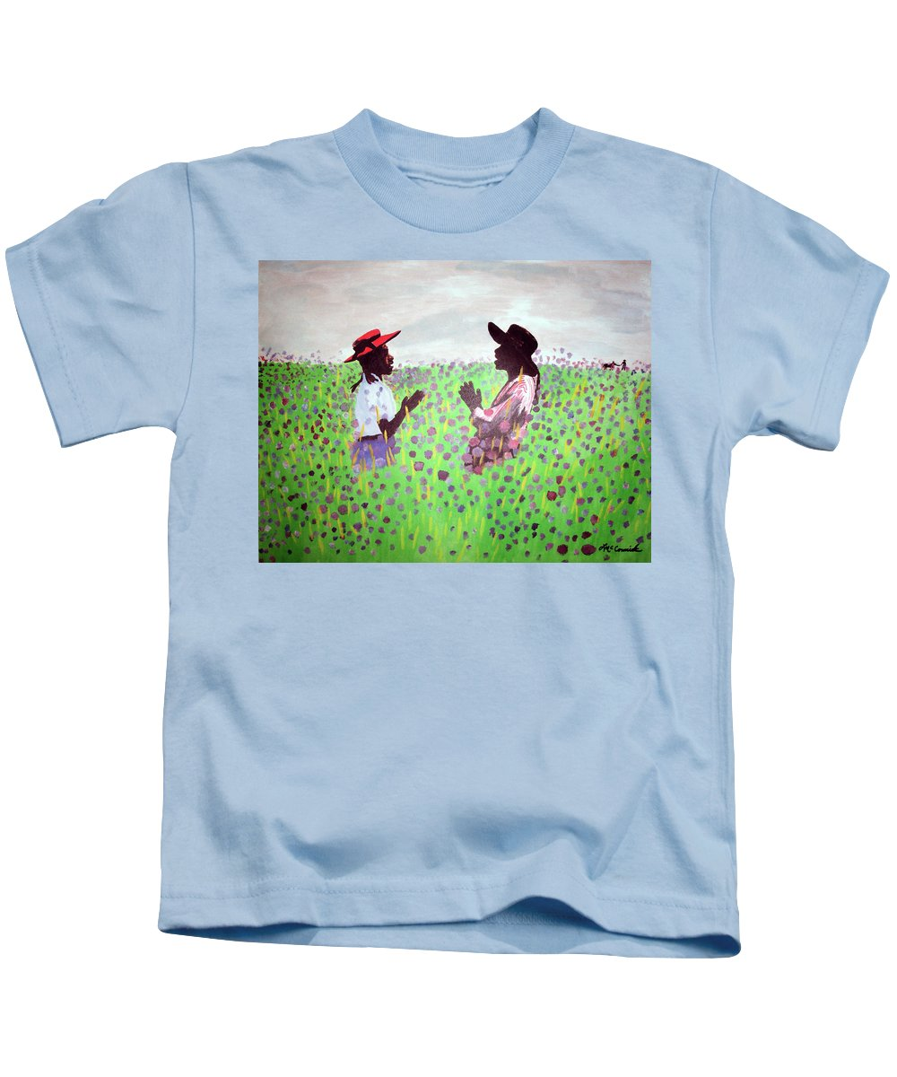 The Color Purple Kids T-Shirt featuring the painting Remember Way Back When by Lee McCormick