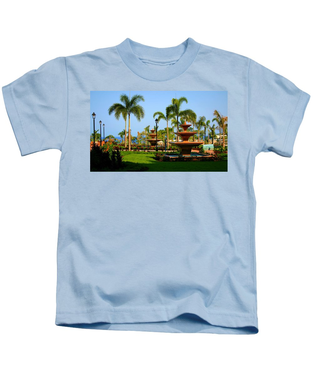 Fountains Kids T-Shirt featuring the photograph Resort Fountains by Perry Webster