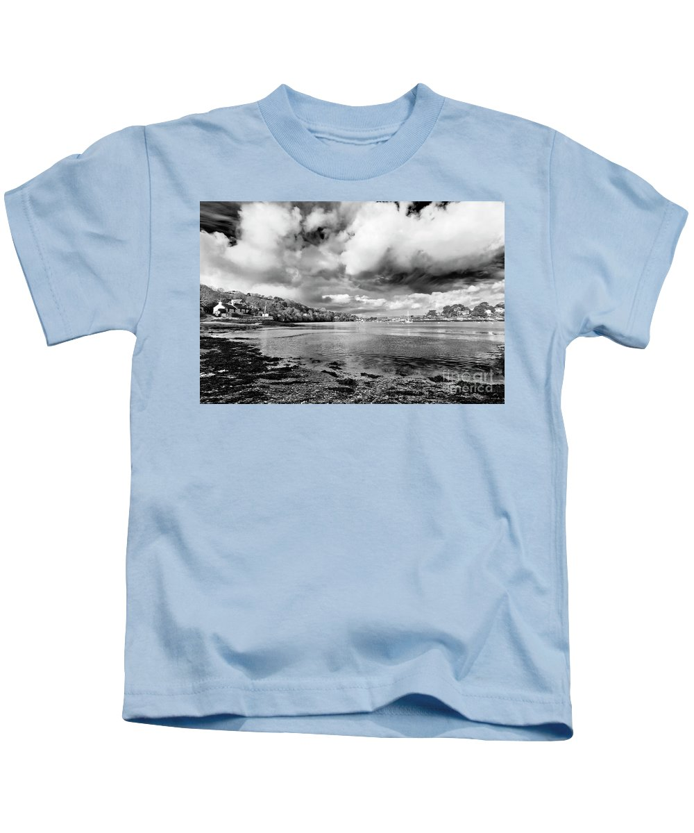 Coastline Kids T-Shirt featuring the photograph Restronguet Weir In Monochrome by Terri Waters