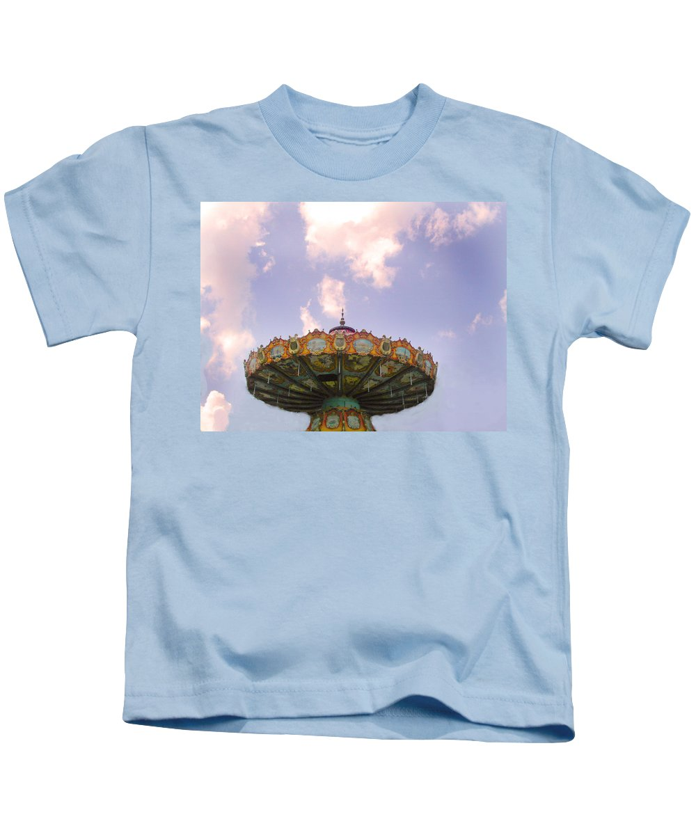 Carousel Kids T-Shirt featuring the photograph Retired Ride In The Sky Or Ufo by Anne Cameron Cutri