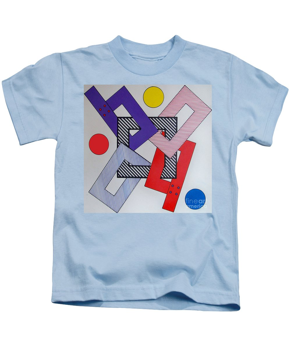 Squared Off Kids T-Shirt featuring the drawing Rfb0616 by Robert F Battles