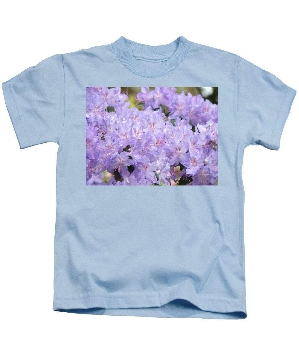 Nature Kids T-Shirt featuring the photograph Rhododendron Floral Flowers Lavender Purple Prints Baslee by Baslee Troutman