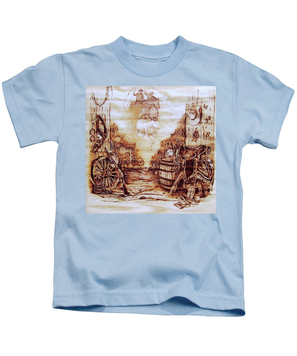 Western Kids T-Shirt featuring the pyrography Riders In The Sky by Danette Smith
