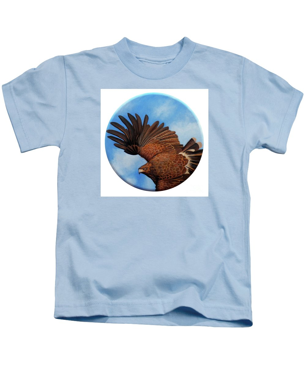 Hawk Kids T-Shirt featuring the painting Riding The Wind by Brian Commerford