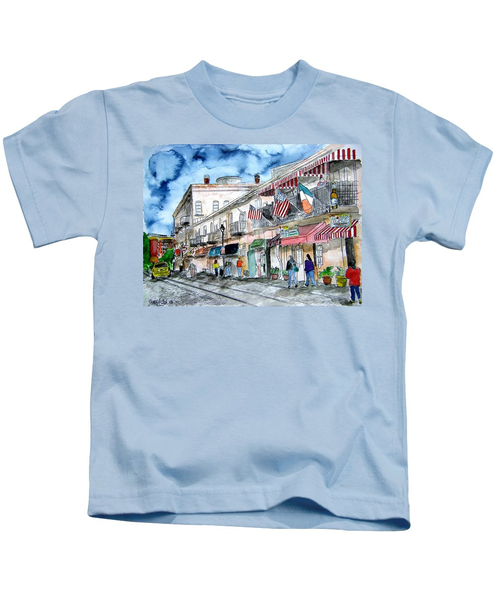 Savannah Kids T-Shirt featuring the painting River Street Savannah Georgia by Derek Mccrea