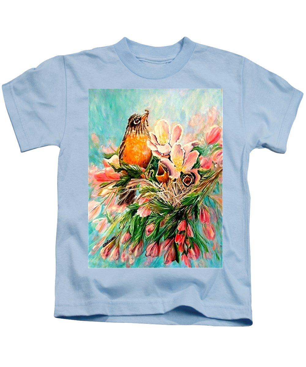 Robins Kids T-Shirt featuring the painting Robin Hood by Carol Allen Anfinsen
