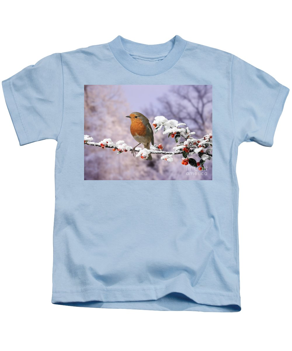 European Robin Kids T-Shirt featuring the photograph Robin On Cotoneaster With Snow by Warren Photographic