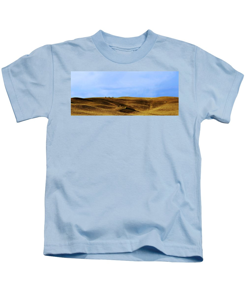 Landscape Kids T-Shirt featuring the photograph Rolling Hills And Bales Of Hay by Marilyn Hunt