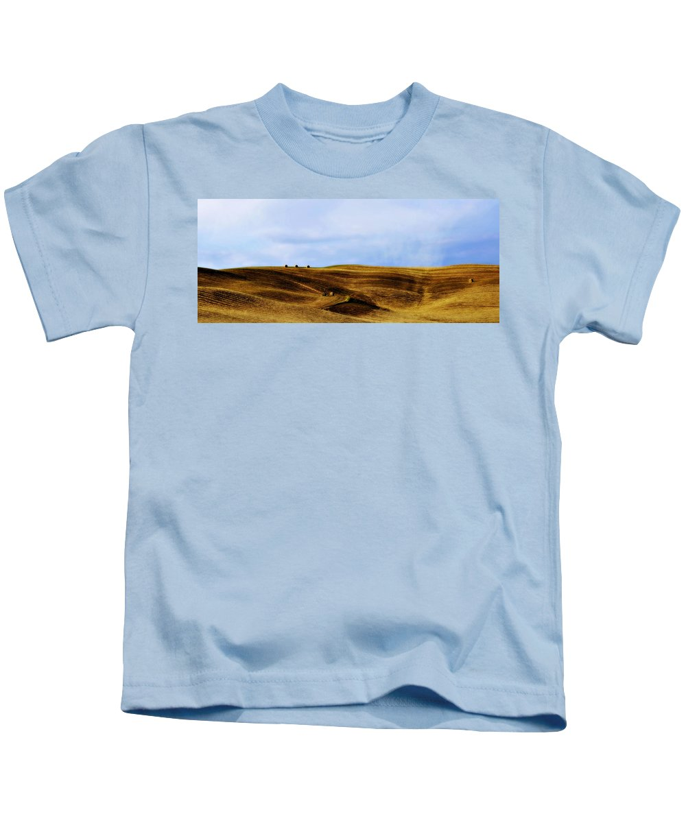Italy Kids T-Shirt featuring the photograph Rolling Hills Of Hay by Marilyn Hunt