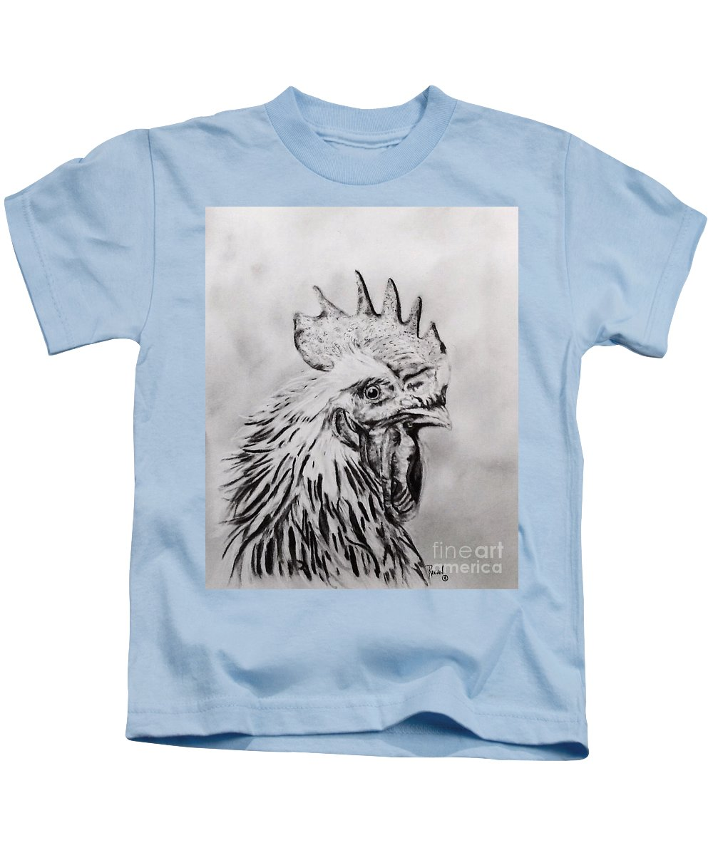 Rooster Kids T-Shirt featuring the drawing Rooster by Regan J Smith