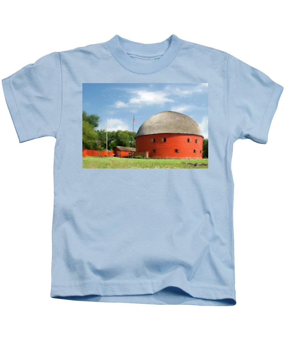 Barn Kids T-Shirt featuring the photograph Route 66 Round Barn by Betty LaRue