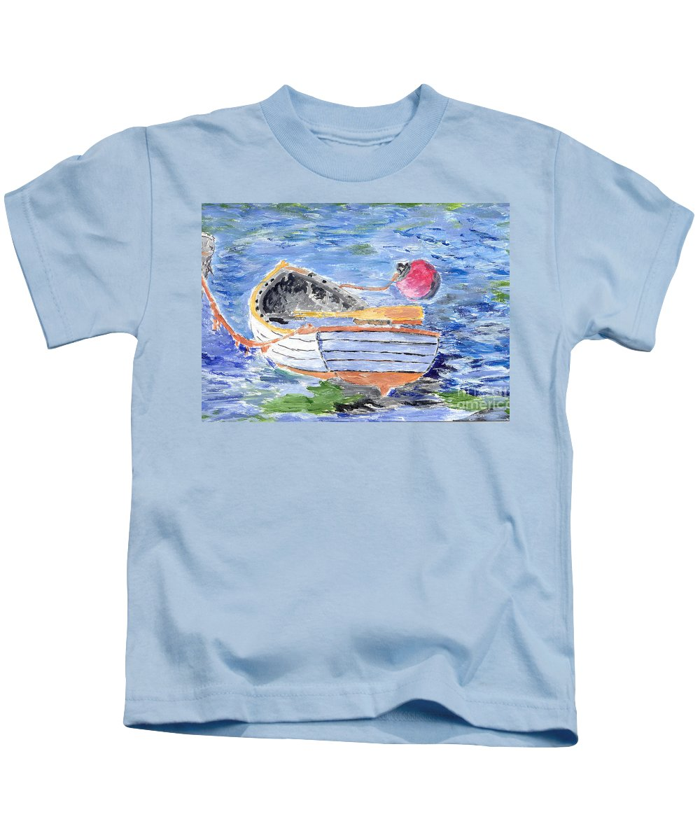 Row Kids T-Shirt featuring the painting Rowboat by William Bowers