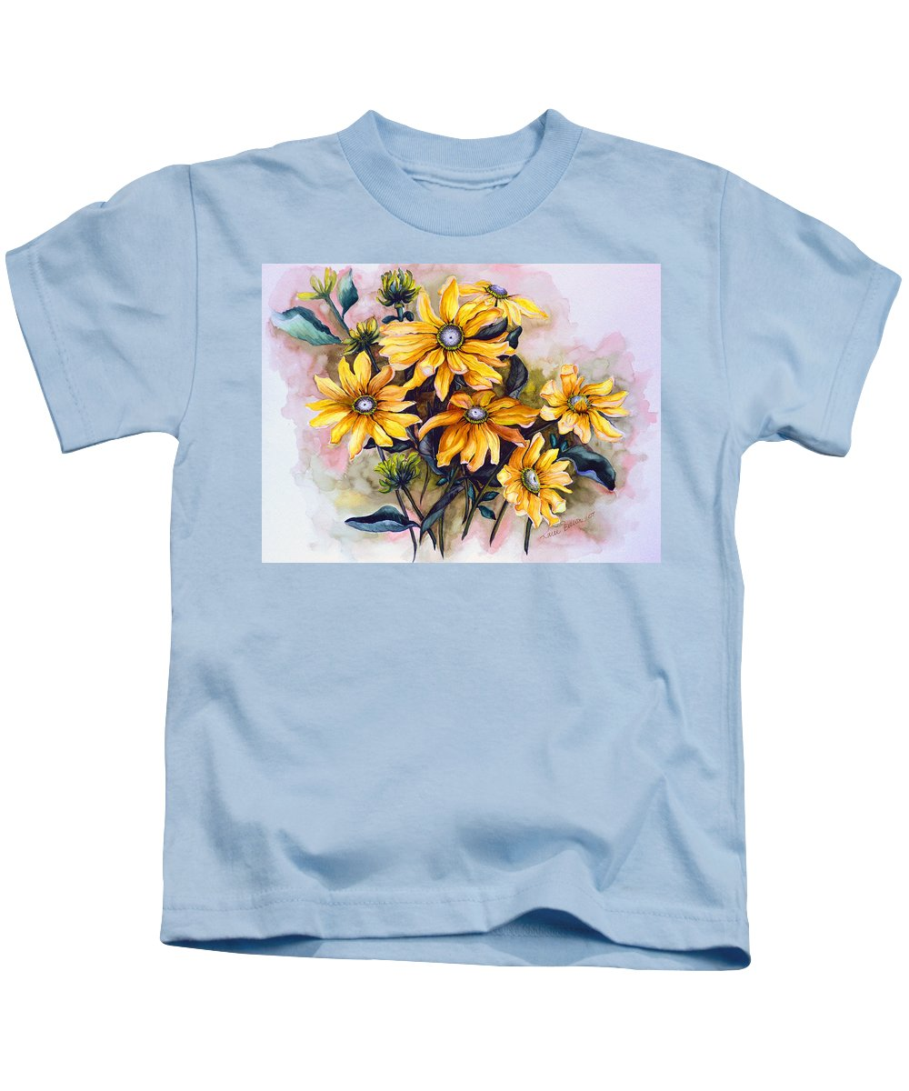 Flower Painting Sun Flower Painting Flower Botanical Painting  Original Watercolor Painting Rudebeckia Painting Floral Painting Yellow Painting Greeting Card Painting Kids T-Shirt featuring the painting Rudbeckia Prairie Sun by Karin Dawn Kelshall- Best