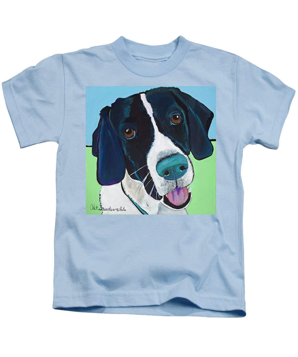 Rescue Dog Kids T-Shirt featuring the painting Ruger by Pat Saunders-White