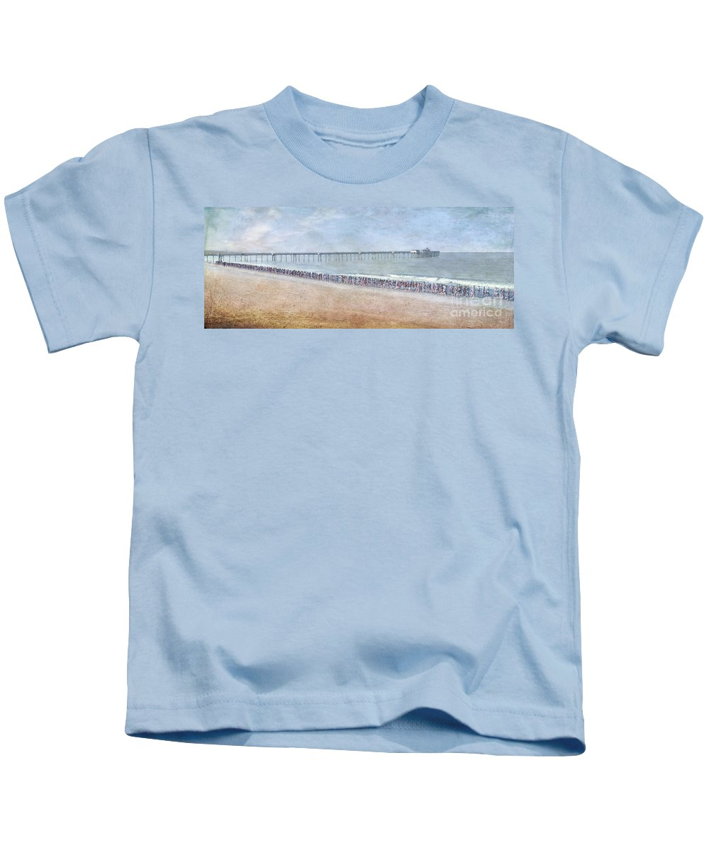 Runners On The Beach Panorama Kids T-Shirt featuring the photograph Runners On The Beach Panorama by David Zanzinger