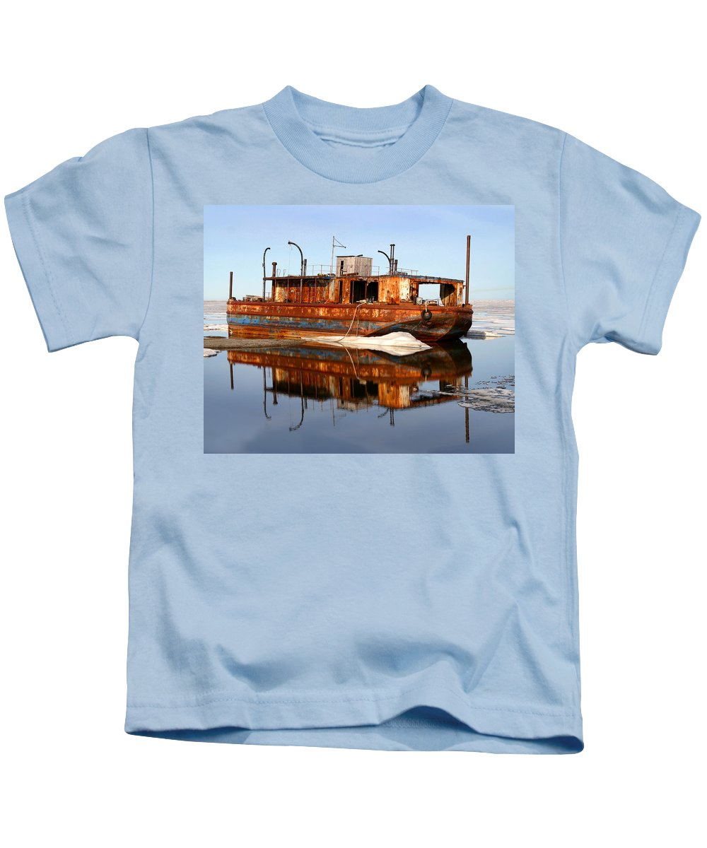 Boat Kids T-Shirt featuring the photograph Rusty Barge by Anthony Jones