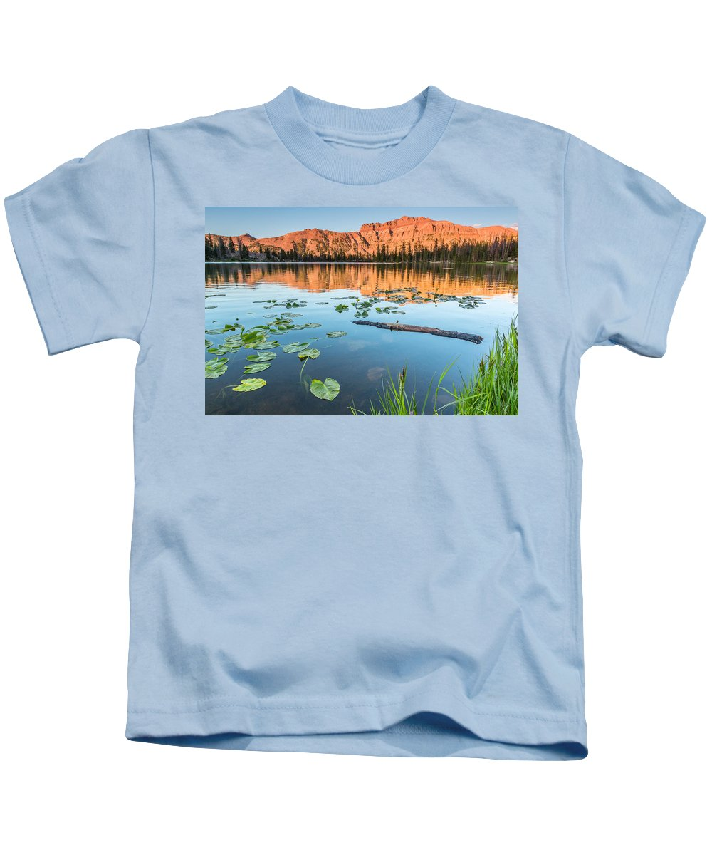 Trailsxposed Kids T-Shirt featuring the photograph Ruth Lake Lilies by Gina Herbert