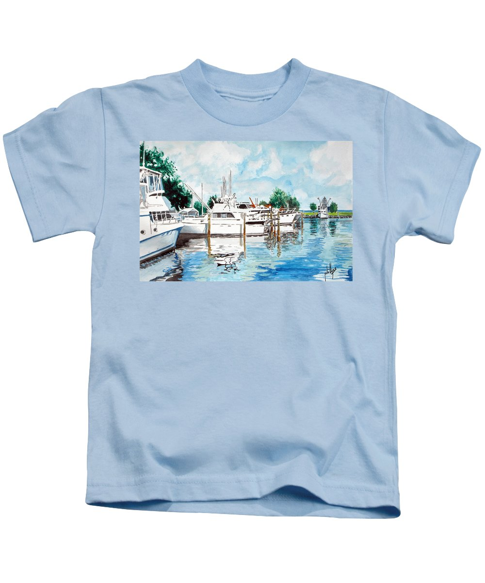 Boats Harbor Coastal Nautical Kids T-Shirt featuring the painting Safe Harbor by Jim Phillips
