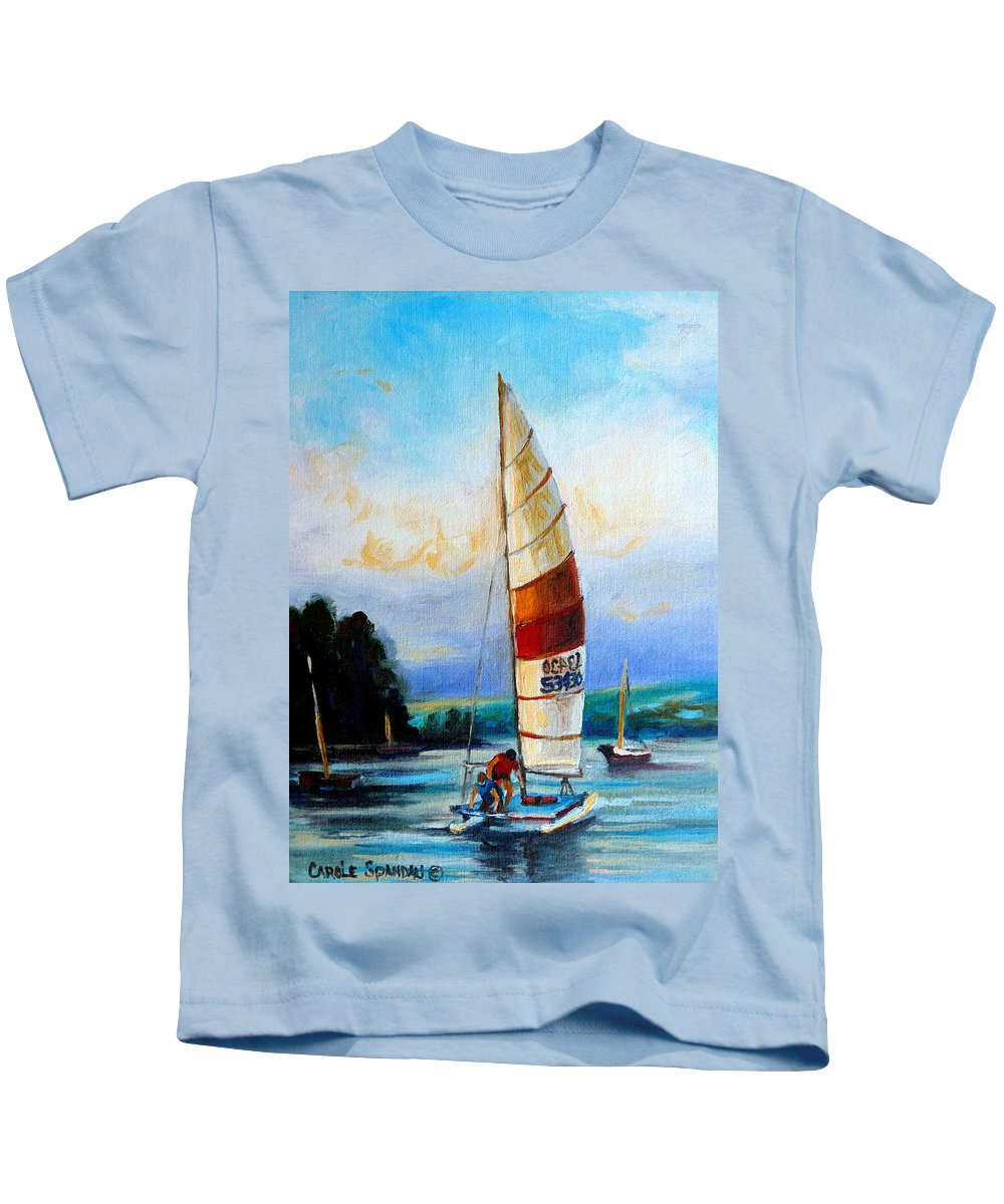 Sail Boats On The Lake Kids T-Shirt featuring the painting Sail Boats On The Lake by Carole Spandau