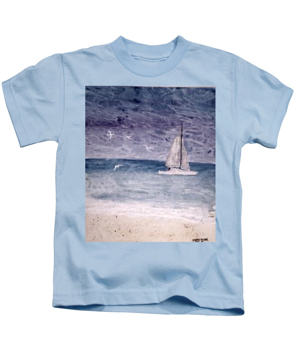 Watercolor Seascape Sailing Boat Landscape Painting Kids T-Shirt featuring the painting SAILING AT NIGHT nautical painting print by Derek Mccrea