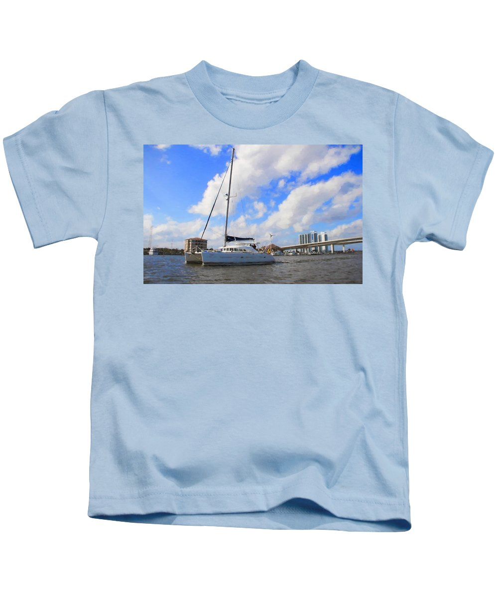 Alicegipsonphotographs Kids T-Shirt featuring the photograph Sailing Past The Marina Grande by Alice Gipson