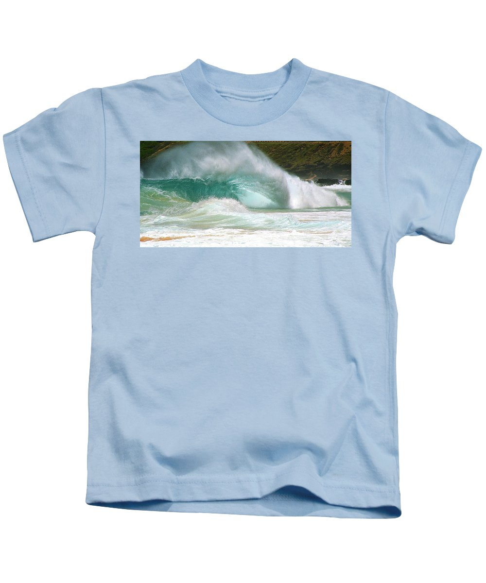 Beach Break Kids T-Shirt featuring the photograph Sandy Beach Shorebreak by Kevin Smith